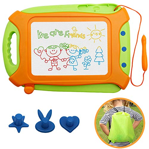 Magna Doodle for Toddlers,Magnetic Drawing Board Travel Size Toddlers Toys Colorful Erasable Sketching Etch a Sketch with One Carry Bag Magnet Pen and Three Stampers -