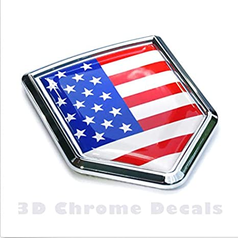 USA Flag Chrome Emblem Badge Decal Car Bumper Sticker American