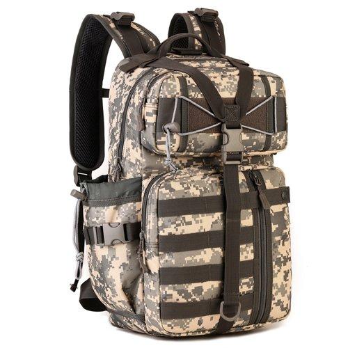 JWBB Ventiladores bolso táctico militar, hombres y mujeres deportes viajes mochila impermeable de 14 pulgadas bolsa de ordenador, bolsa de pesca ocio,Plata digital ACU Plata digital ACU