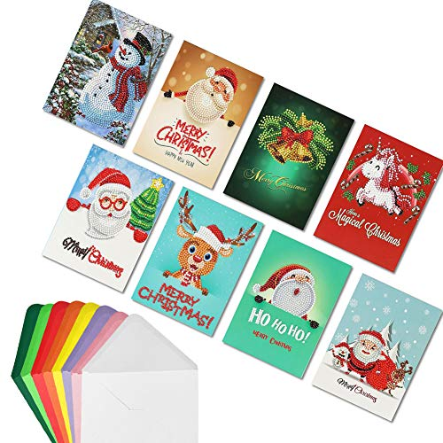 Hangnuo 8 Pack 5D Diamond Christmas Cards, DIY Greeting Card with Diamond Painting for Family and Friend - Merry Xmas Handmade Gift -