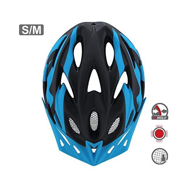 earlyad Casco per Bicicletta Protezione di Ciclismo sicura Regolabile Ventilazione del Casco Copricapo da Motociclista con luci per Casco da Bici per Adulti 1 spesavip