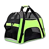 Airline Approved Pet Carrier Under Seat Soft Sided for Dogs Cats Small Puppies 17''L x 8''W x 10''H,Airline Travel Handbag Shoulder Bag,Middle,Green