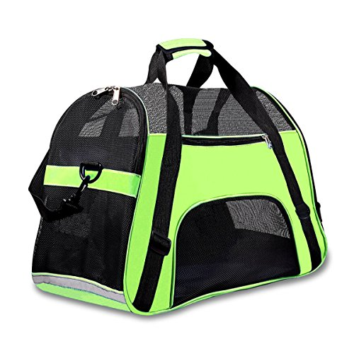 "Airline Approved Pet Carrier Under Seat Soft Sided for Dogs Cats Small Puppies 17""L x 8""W x 10""H,Airline Travel Handbag Shoulder Bag,Middle,Green"
