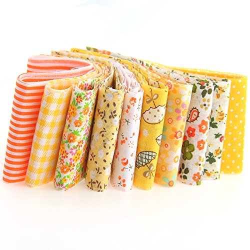 Funnytoday365 Cotton Fabric Strips Yellow Series 1005Cm 10Pcs Jelly Roll Sewing Textile Patchwork Stofa for Doll Dress Hair Clip