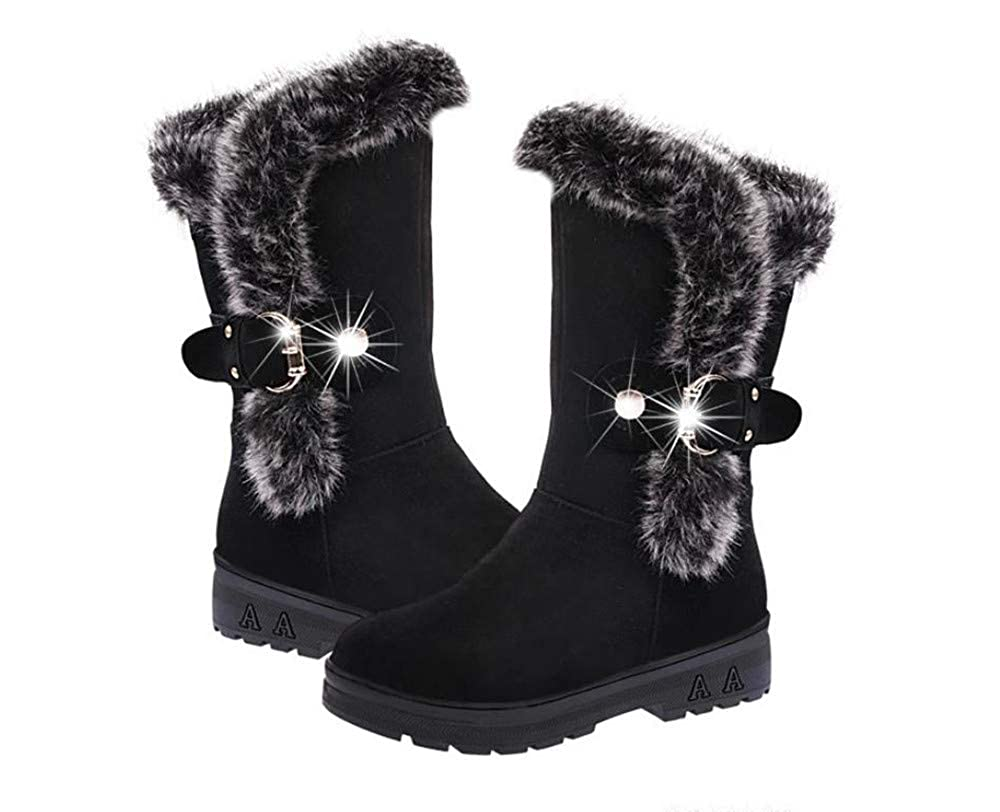 Gusha Womens Boots Winter Snow Boots Casual Boots Thick Heel Shoes