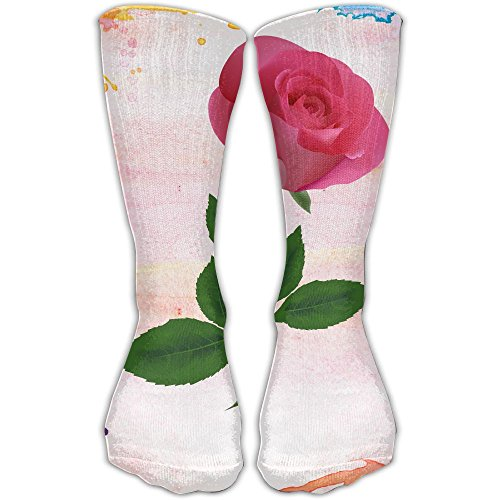 Pink Rose Clipart Flower Illuminati Comfort Compression Socks 11.8inch (Pink Clipart Roses)