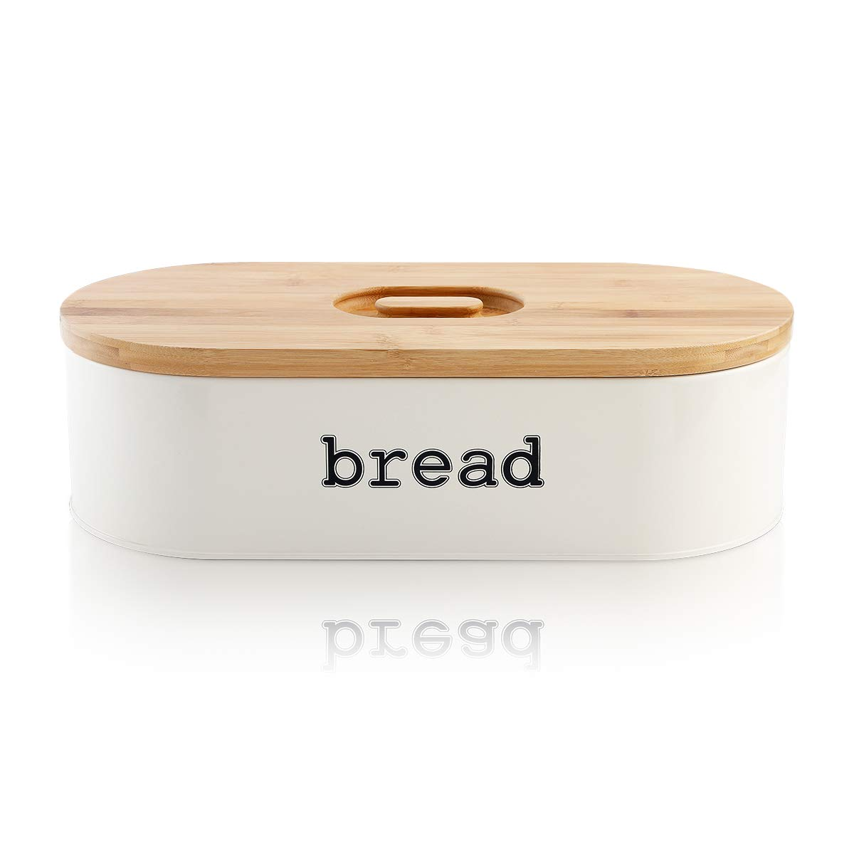 SveBake Metal Bread Box for Kitchen Counter Vintage & Retro Bread Bin with Bamboo Lid, Cream (Included a Free PDF Baking E-BOOK)