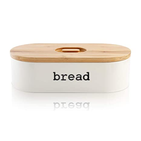 Food & Kitchen Storage Vintage Retro Style Metal Cream Bread Bin New Cookware, Dining & Bar