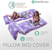 Great for SLEEPOVERS Slumber Parties Butterfly Craze Girls Floor Lounger Seats Cover and Pillow Cover Made of Super Soft Perfect Reading and Watching TV Cushion Luxurious Premium Plush Fabric