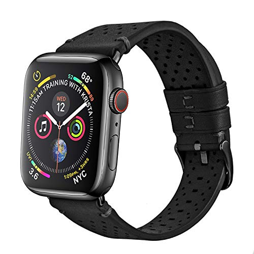 - Soon Compatible Apple Watch Band 38mm 40mm, Genuine Leather Strap Replacement fit iWatch Series 4 3 2 1 Sports & Edition SweatProof with Air Holes - Black