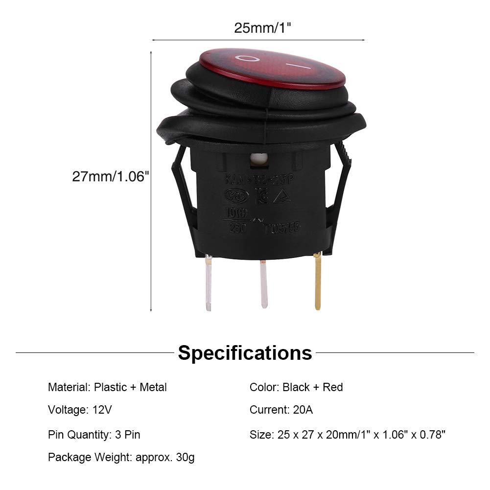 2Pcs 12V 3Pin LED de Interruptores de eje de balanc/ín SPDT Snap Impermeable Bot/ón redondo interruptor basculante para auto//Bote//Cami/ón
