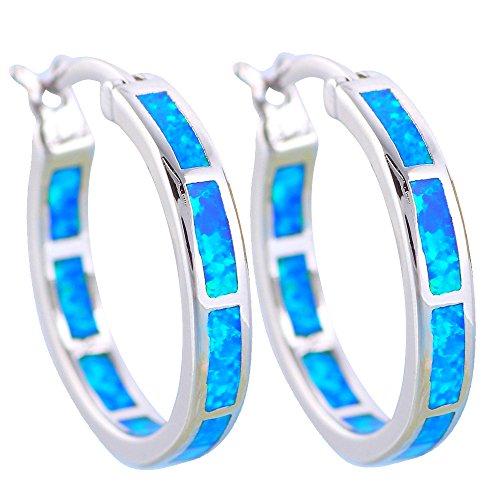 New Blue Fire Opal Silver Stamped Dinner Hoop Earrings Fashion Jewelry Opal Jewelry OE428 (Blue)