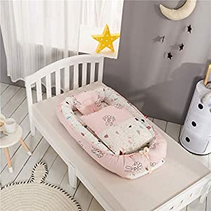Abreeze Baby Bassinet for Bed with Quilt Assorted Color Baby Lounger Co-Sleeping Baby Bed Reversible Cosleeper Bed 100% Cotton Portable Crib for Bedroom/Travel 0-24 Month