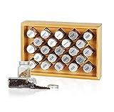 Spice Rack Cabinet Organizer, Spice Jars with 23 Glass Bottles, Pantry Kitchen Shelf Storage Organization, Bamboo