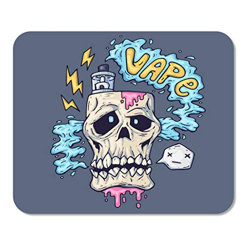 Suike Mousepad Computer Notepad Office Cigarette Cartoon Skull Exhales Steam for Vape Industry Liquid Home School Game Player Computer Worker 9.5x7.9 Inch