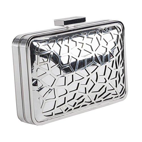 Tasche, clutch, Celine Silber, satiniertes metall
