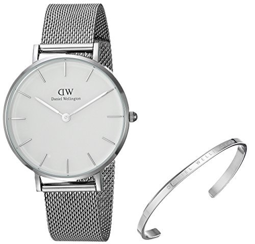 Daniel Wellington Gift Set, Classic Petite Sterling 32mm Watch with Silver Classic Cuff