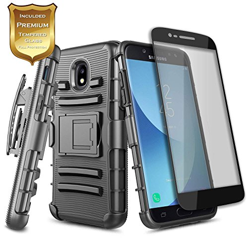 Galaxy J7 Star Case, J7 Refine/J7 Crown/J7 TOP/J7 V 2nd Gen/J7 Aura w/[Tempered Glass Screen Protector],NageBee Belt Clip Holster Heavy Duty Shockproof Combo Case for Samsung Galaxy J7 (2018) -Black
