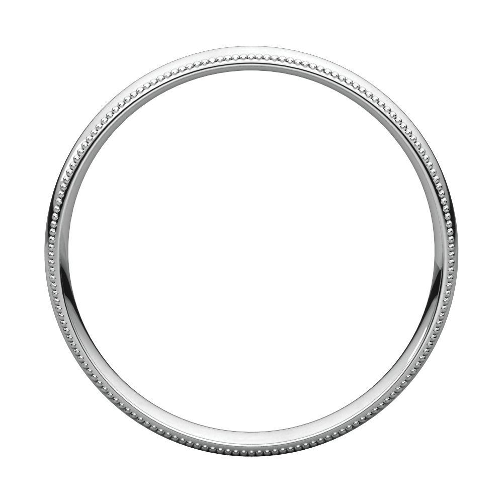 Size 14.5 Bonyak Jewelry 10k White Gold 3 mm Milgrain Lightweight Comfort-Fit Band