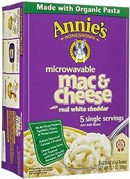 Annie\'s Homegrown White Cheddar Microwavable Mac & Cheese, 10.7 oz, 5 ct