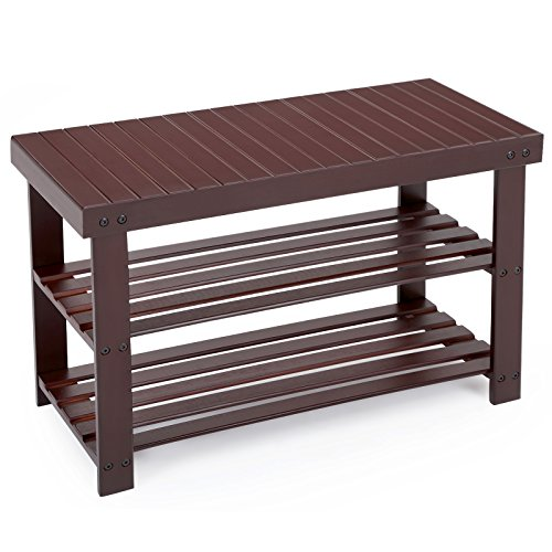 SONGMICS Entryway Bamboo Shoe Bench 2-Tier Shoe Rack Organizer Brown ULBS04Z (Small Entryway Bench With Storage)
