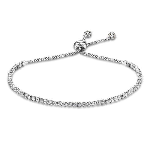 9e9060d03f14 Richapex Women s Platinum Plated Silver Adjustable Cubic Zirconia Slider  Tennis Bracelet (Silver)