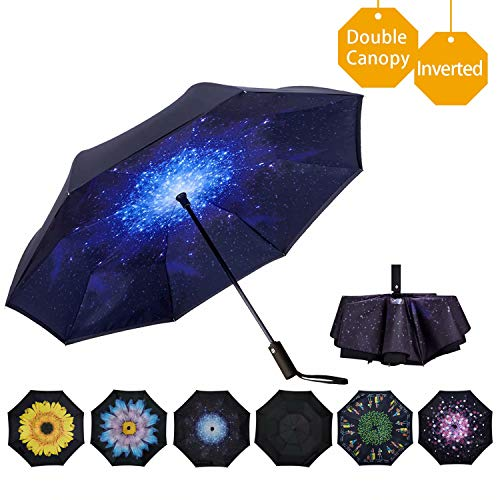 VIWINVELA Inverted Automatic Umbrella Double Layer Windproof Reverse Folding Umbrella for Car Travel Men Women Starry Sky