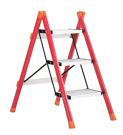 LIZITD Escalera - Taburete de Escalera de Escalada de Fibra de Vidrio de Uso intensivo Plegable de Tres Pasos, Capacidad de Carga 150 kg, 2 Colores (Color : B): Amazon.es: Hogar