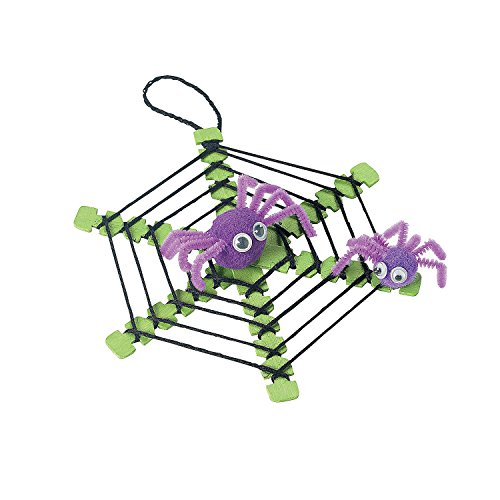 Fun Express - Yarn Spider Web W/Spiders Craft Kit for Halloween - Craft Kits - Ornament Craft Kits - Non Foam - Halloween - 12 Pieces -
