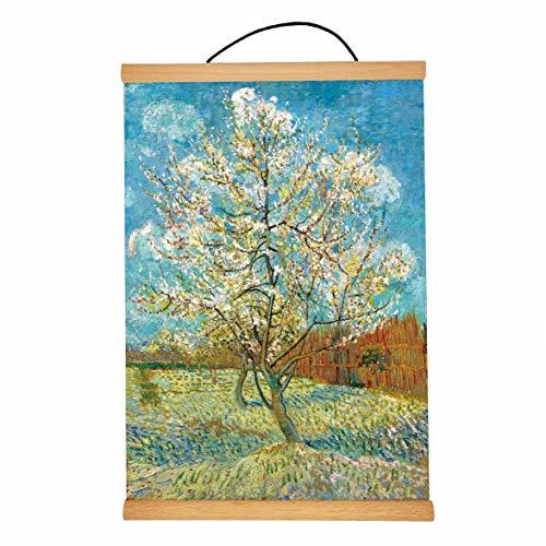 Retro Oil Painting Poster Hanger Frame, Light Wood Wooden Canvas Artwork Print Dowel Poster Hangers Frames Hanging Kit for Home Decor by Vincent Van Gogh