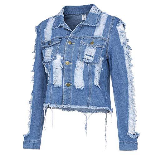 LISTHA Distressed Cowboy Coat Women Crop Tops Denim Short Jackets Long Sleeve
