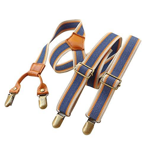 Lawevan Damen und Herren Hosen Zahnspange hosenträger Blau und weiß Streifenmuster Rindleder