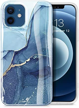 "GVIEWIN Aurora Lite Series Case Compatible with iPhone 12 Pro 6.1"" 2020/Compatible with iPhone 12 6.1"" 2020, Ultra Slim Thin Glossy Soft Marble TPU Shockproof Scratch-Proof Phone Covers, Navy Blue"