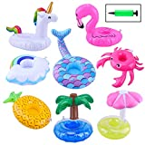 Blovec Inflatable Drink Floats, 8 Pack Inflatable Drink Holders Cup Coasters Swimming Drink Holder with Air Pump for Summer Pool Party and Bath Toys
