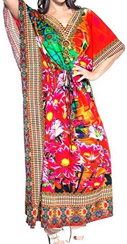de Traje LEELA del del de Aloha Las Dormir Mano Maxi baño rayón caftán Vestido caftán Camisa de Multicolor de baño Trajes v570 LA Mujeres Xq4Iwn8dEE