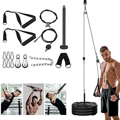 Katrol Kabel Machine Systeem, Fitness Katrol Systeem met 300lbs Heavy Duty Stalen Touw DIY Home Gym Triceps Katrol Kabel…
