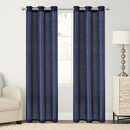 2- Piece Faux Silk Grommet Curtain Panels – 54″ by 84″ Inch total Width 108&#8 ...