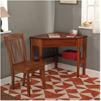 Simple Living Savannah 2-piece Corner Wood Desk and Chair Set For Home