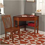 Simple Living Savannah 2-piece Corner Wood Desk and Chair Set For Home Simple Living