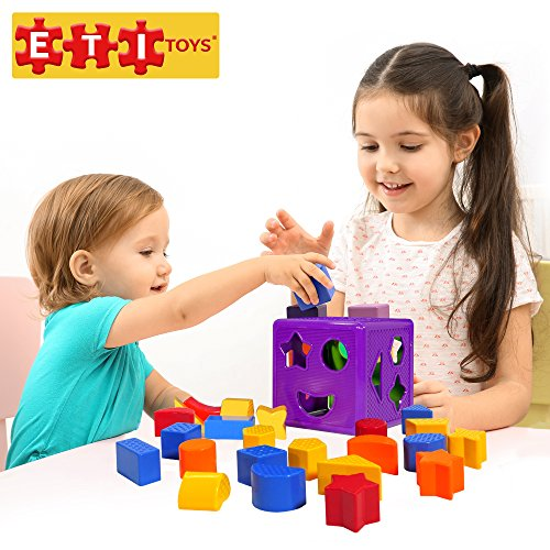 ETI Toys | 19 Piece Unique Educational Sorting Matching Toy for Toddlers. Colorful Sorter Cube Box & Shapes - Non-Toxic Safe Materials - Promotes Fun Learning, Creativity & Skills (Purple-Green)