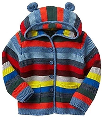 - Baby Gap Factory Boys Crazy Stripe Bear Hoodie Cardigan Sweater 0-3 Months