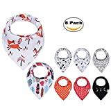 Image of PPOGOO Baby Bandana Drool Bibs Unisex 8-Pack Gift Set for Boys and Girls made of 100% cotton