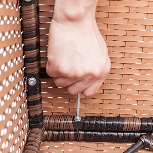 Jannyshop Sofa Set with 2pcs Corner Sofas & 4pcs Single Sofas & 1 pcs Equipped Weaving Rattan Coffee Table Black-Single Sofa by Jannyshop (Image #5)