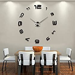 ZEM-PXD 3D creative DIY clock clock stickers large size European simple living room watch table stickers,Other,Golden