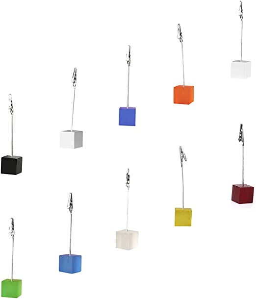 VORCOOL 10pcs Cube Wire Resin Base Memo Photo Holder Card Paper Note Clip Random Color