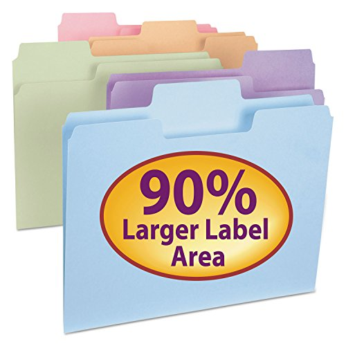 Smead SuperTab File Folder, Oversized 1/3-Cut Tab, Letter Size, Assorted Colors, 24 per Pack (11927) (Letter Assorted Four Tab)