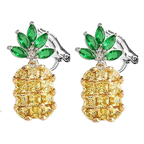 Clip on Earring Back with Pads Pineapple Cubic Zirconia Stud for Girl Kid no Piercing Gold-tone Fashion ()