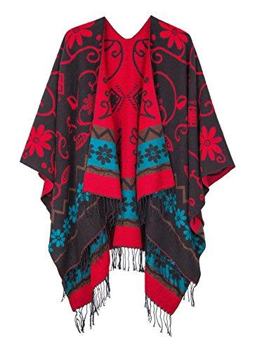 (Women's Fashionable Retro Style Vintage Pattern Tassel Poncho Shawl Cape (Series1-black))