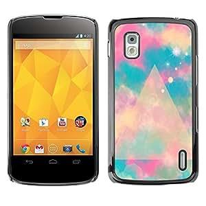 Estuche Cubierta Shell Smartphone estuche protector duro para el teléfono móvil Caso LG Google Nexus 4 E960 / CECELL Phone case / / blue polygon mystical space clouds /