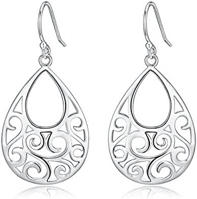 Highly Polished Sterling Silver Filigree Abstract Peacock Design Dangle Drop Earrings